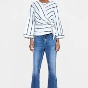 Zara Striped Top With Knotted Front long sleeve M